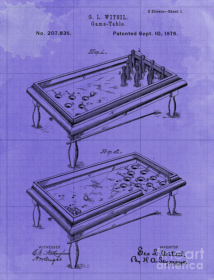Game Table Patent Year 1878 Drawing
