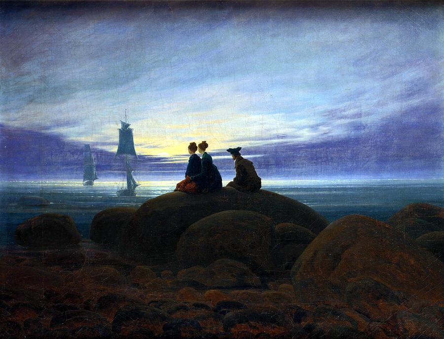 Moonrise Over The Sea Painting By Caspar David Friedrich