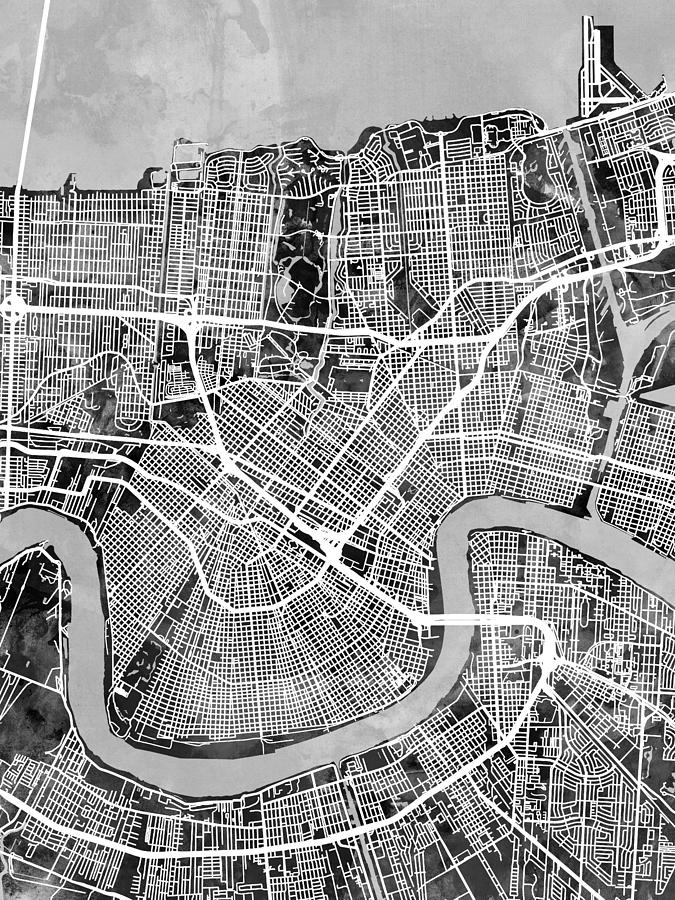 City Map Digital Art - New Orleans Street Map by Michael Tompsett