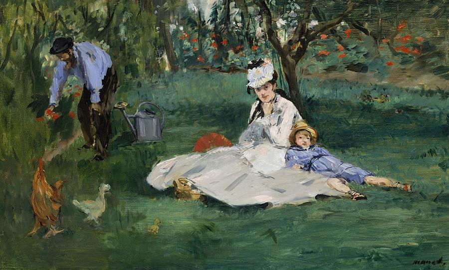 Edouard Manet Painting - The Monet Family In Their Garden At Argenteuil  by Edouard Manet