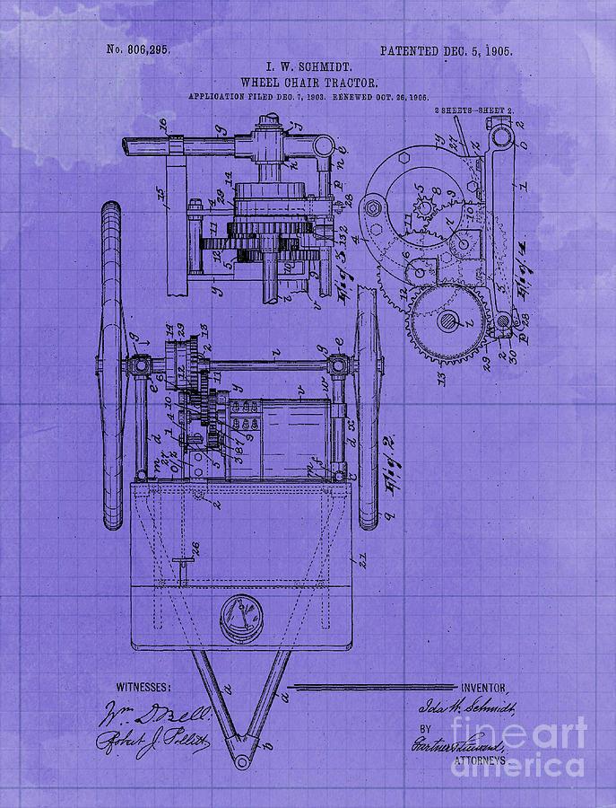 Wheel Chair Tractor Sheet 2 Vintage Art Print Year 1905 Blueprint Drawing