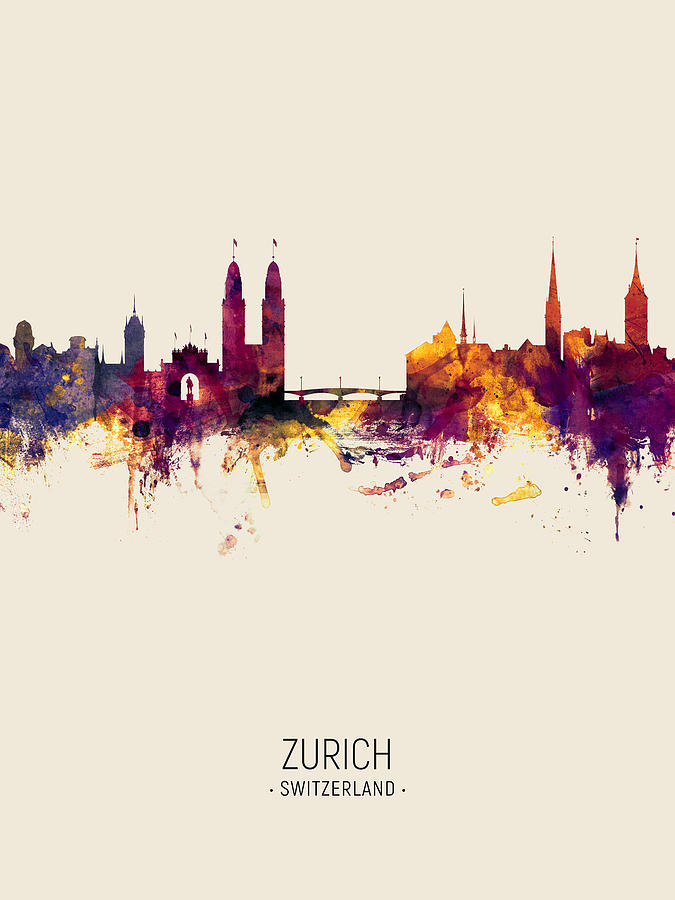 Zurich Switzerland Skyline by Michael Tompsett