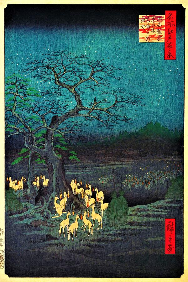 Utagawa Hiroshige Painting - 100 Famous Views Of Edo - Fire Foxs  On New Years Eve by Utagawa Hiroshige