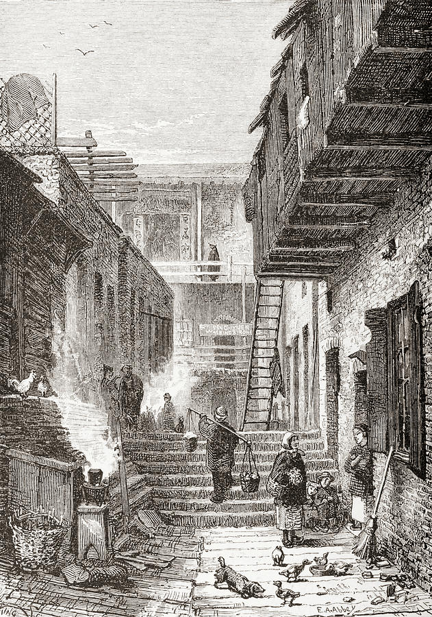 19th Drawing - View Of Chinatown In San Francisco, California,united States Of America In The 1870s by Ken Welsh