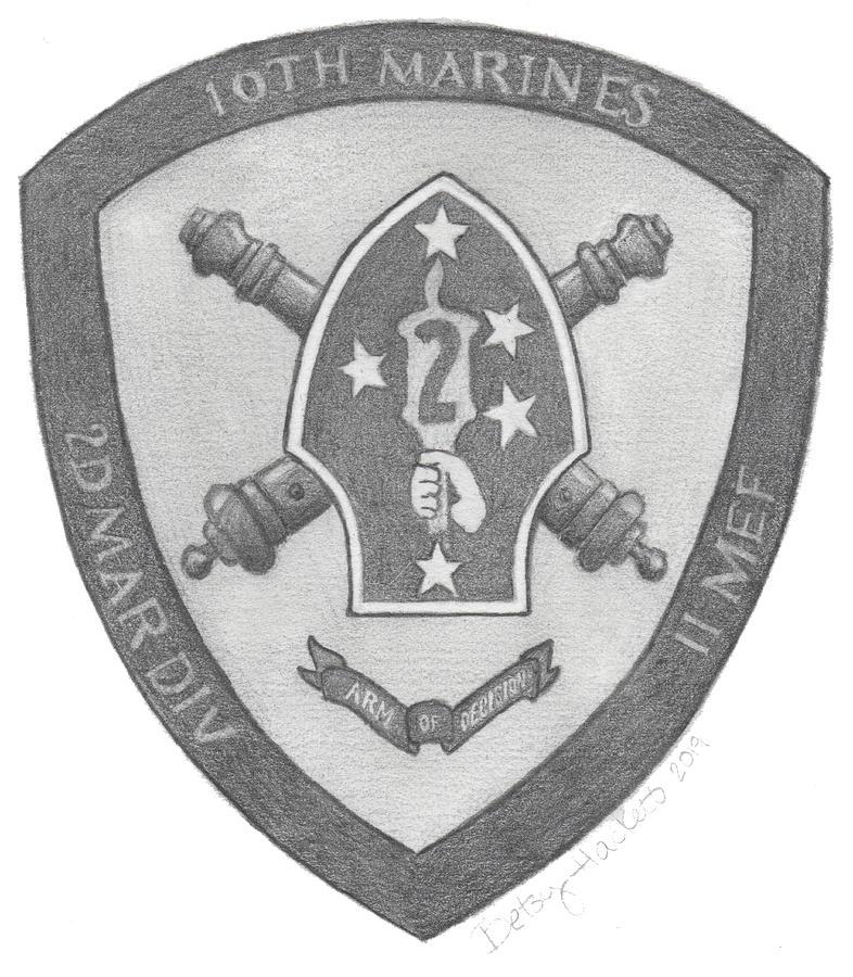 10th Marines Crest by Betsy Hackett