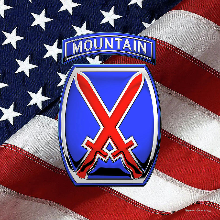 10th Mountain Division - 10th M T N Insignia over American ...
