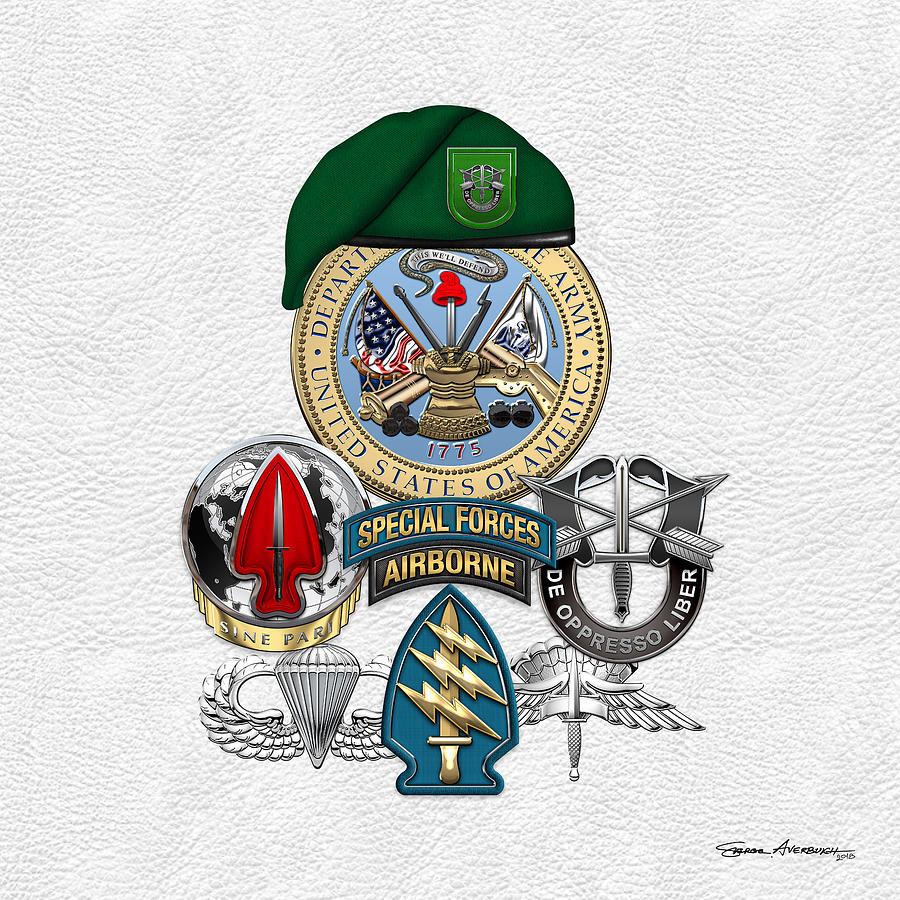 Military Digital Art - 10th Special Forces Group - Green Berets Special Edition by Serge Averbukh