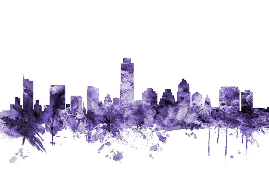 Austin Digital Art - Austin Texas Skyline by Michael Tompsett