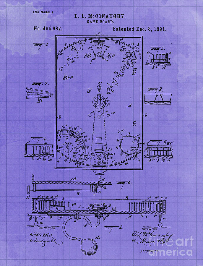Game Board Vintage Patent Year 1891 Vintage Artwork Pub Decoration Drawing