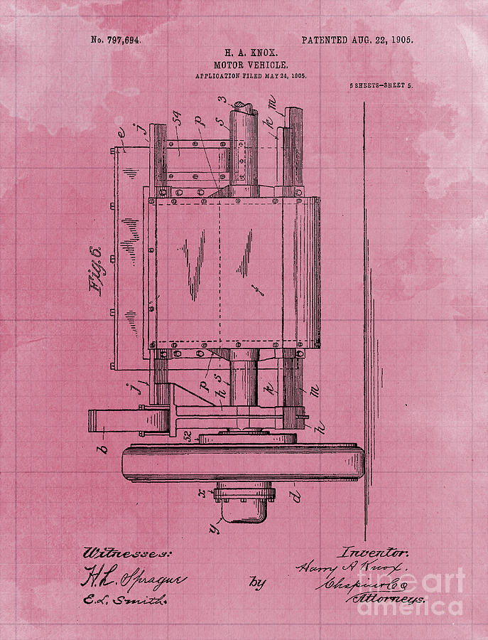 Motor Vehicle Patent 1905 Blueprint Drawing