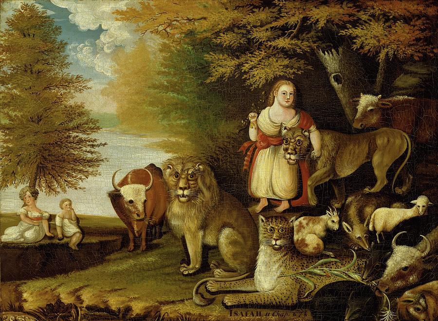 Edward Hicks Painting - Peaceable Kingdom  by Edward Hicks