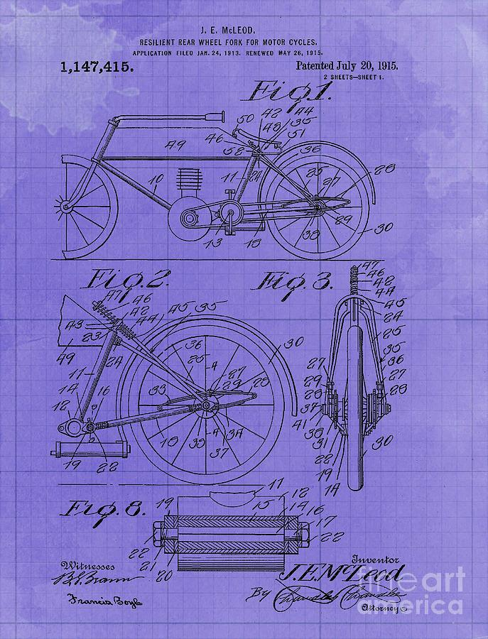 Resilent Rear Wheel Fork For Motor Cycles Patent Year 1915 Motorcycle Blueprint Drawing