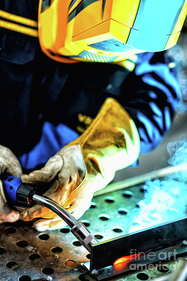 Welder Photograph - Welder At Work by Microgen Images/science Photo Library