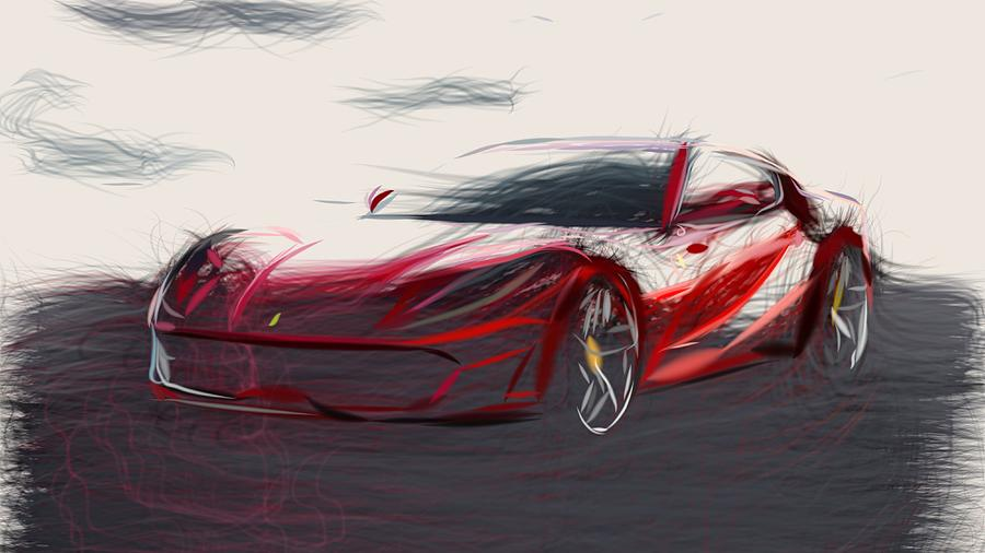 Ferrari 812 Superfast Drawing by CarsToon Concept