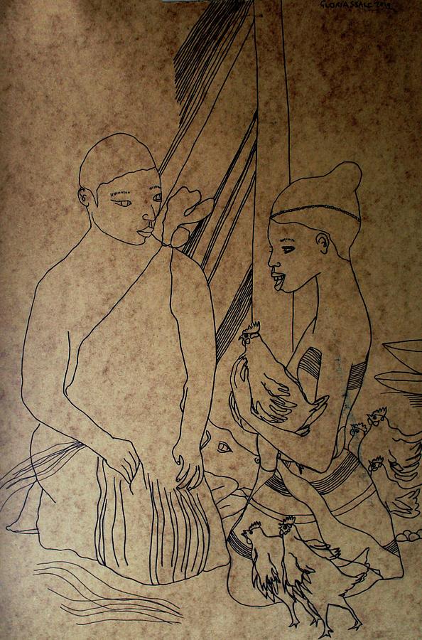 Jesus Painting - Kintu And Nambi Kintus Tasks  by Gloria Ssali