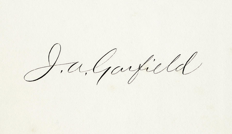 19th Drawing - Signature Of James Abram Garfield, 1831 To 1881, 20th President Of The United States.  by Ken Welsh