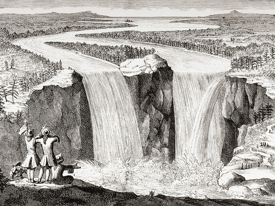 19th Drawing - Copy Of Father Hennepins 1677 Sketch Of Niagara Falls Redrawn In 1870s by Ken Welsh