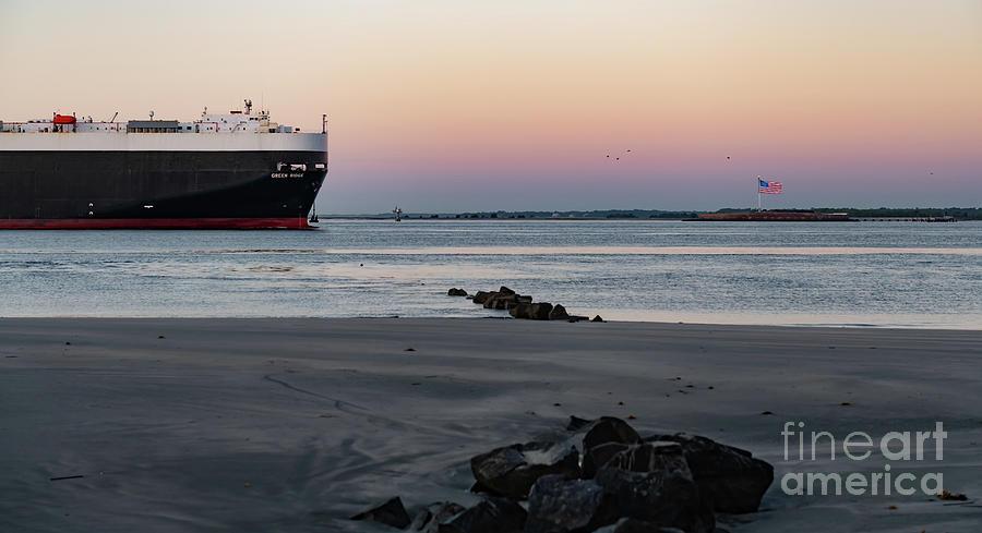 Cargo Ship Dwarfing Fort Sumter - Charleston Harbor Photograph