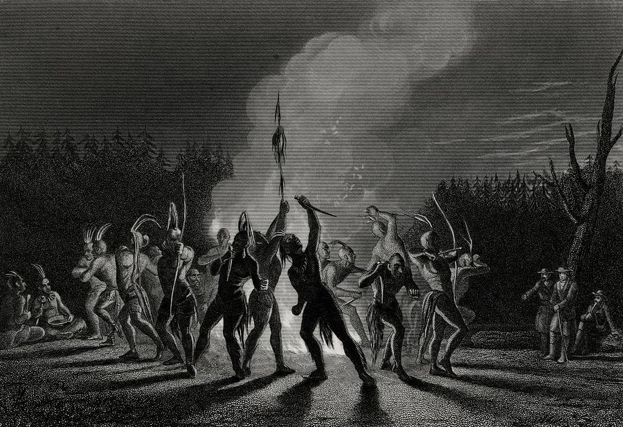 18th Drawing - Washington And Fairfax At An Indian War Dance, 1748. by Ken Welsh