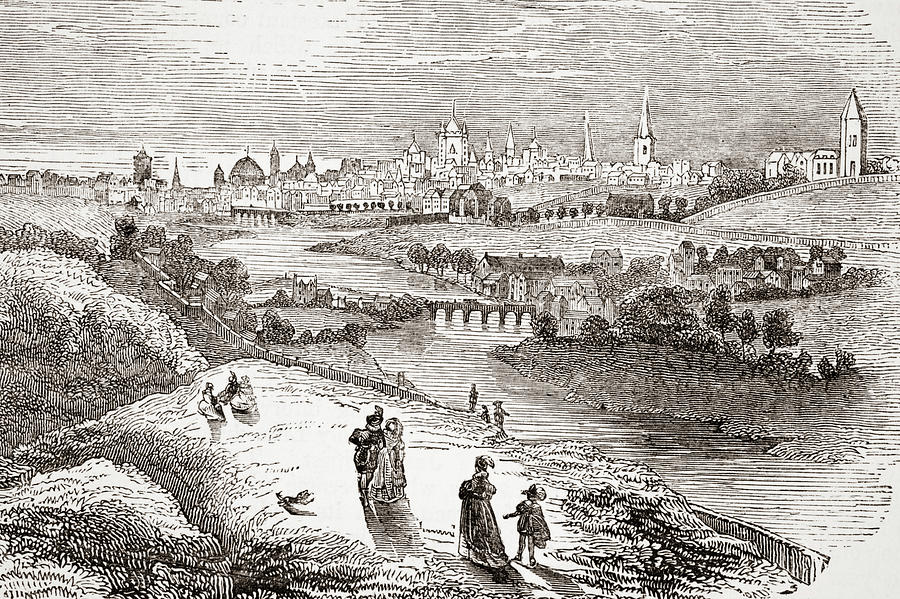 17th Drawing - View Of Dublin, Ireland In The 17th Century. by Ken Welsh