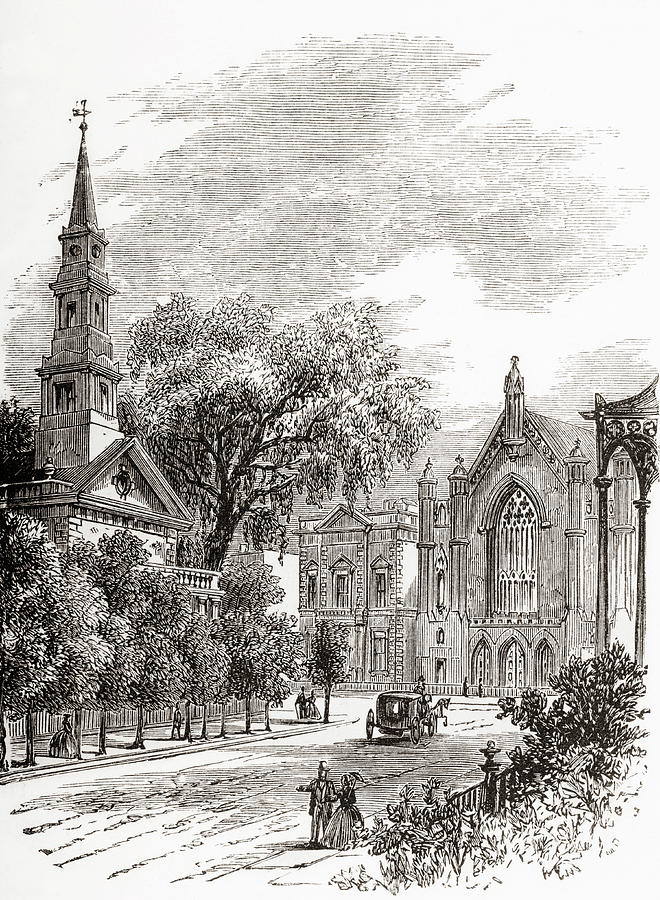 19th Drawing - Saint Marks Church In-the-bowery, New York, United States Of America In 1870s by Ken Welsh