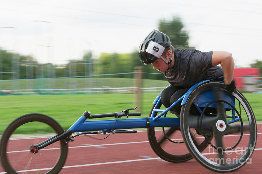 Ambition Photograph - Determined Paraplegic Athlete In Wheelchair Race by Caia Image/science Photo Library