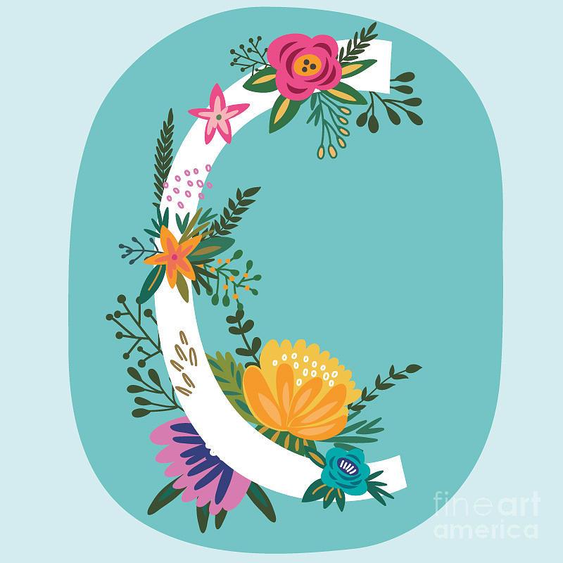 Love Digital Art - Vector Hand Drawn Floral Monogram by Marushabelle