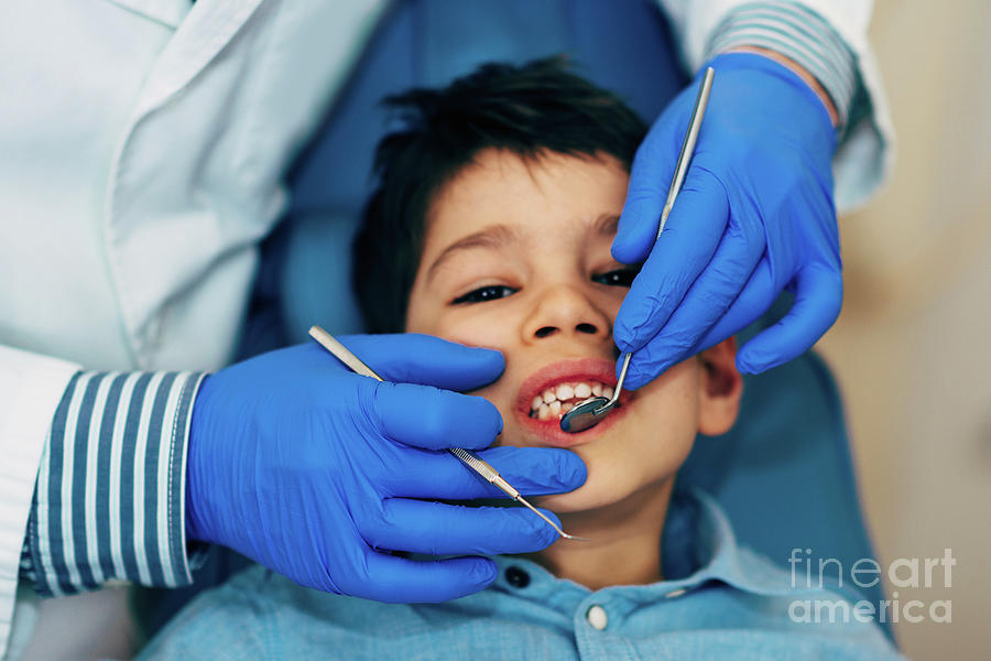 Dentist Photograph - Young Boy Having Dental Check-up 13 by Microgen Images/science Photo Library
