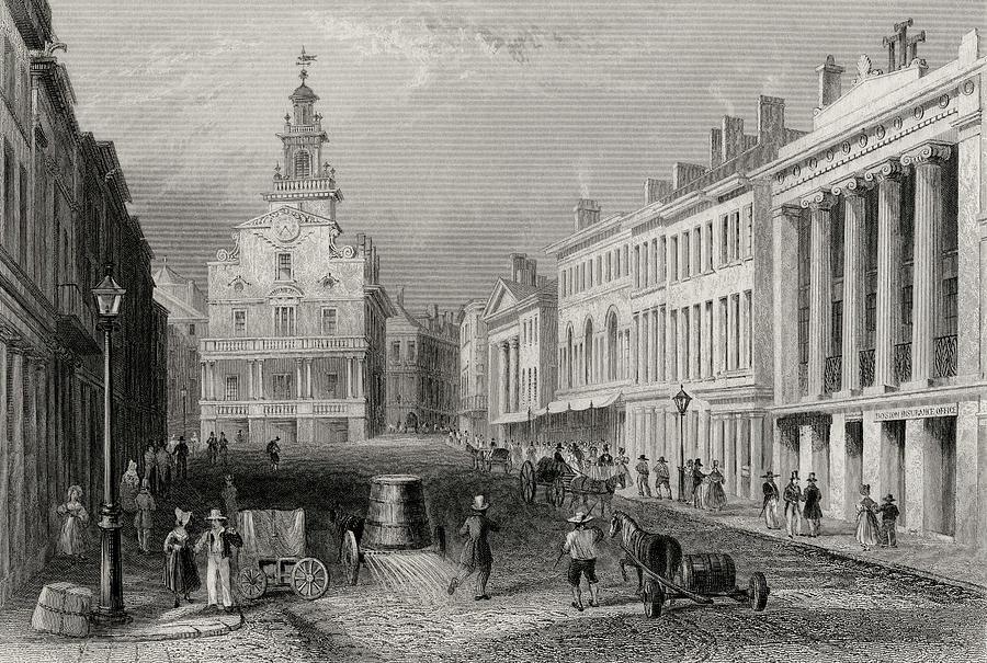 America Drawing - State Street, Boston, Usa by Ken Welsh