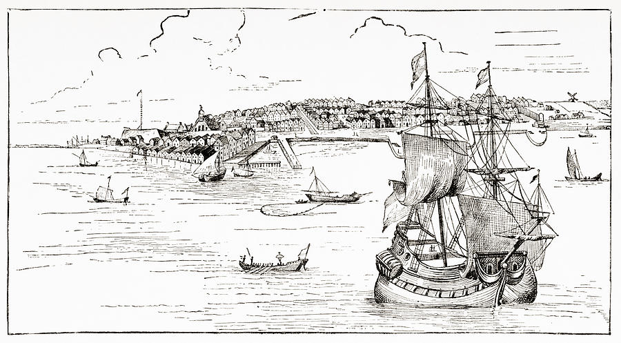 19th Drawing - New York, United States Of America, In 1673. by Ken Welsh