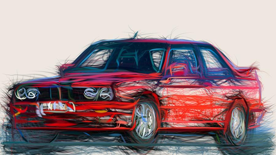 Bmw Digital Art - Bmw E30 Draw by CarsToon Concept