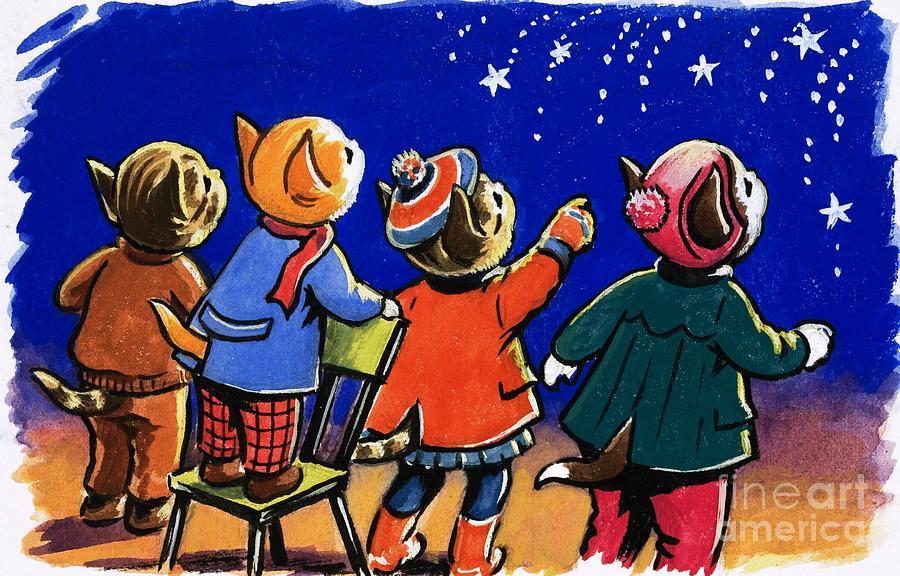Bonfire Painting - Num Num And His Funny Family by Gordon Hutchings