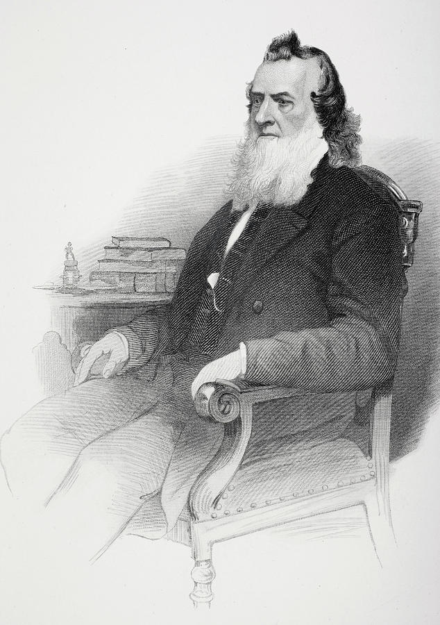 19th Drawing - Gideon Welles.  U.s. Secretary Of The Navy Under Presidents Abraham Lincoln And Andrew Johnson by Ken Welsh