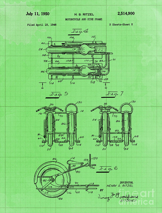 Motorcycle And Side Frame Patent Year 1946 Drawing