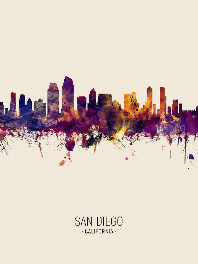 San Diego California Skyline by Michael Tompsett