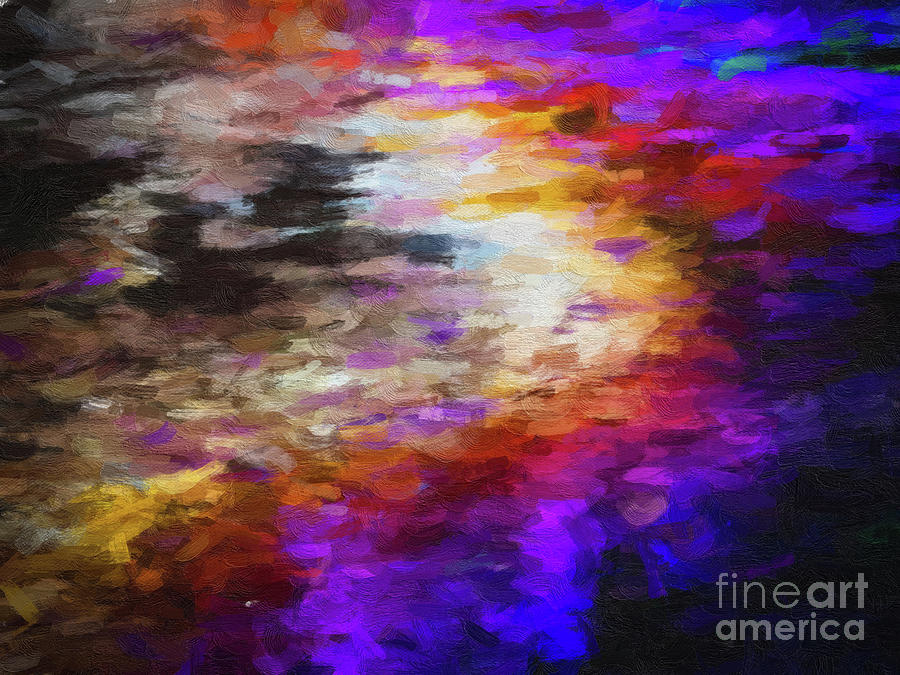 160 Abstract digital oil painting on canvas full of texture and brig by Amy Cicconi