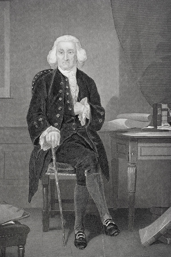 18th Drawing - Jonathon Trumbull, 1710-1785.  Chief Justice Connecticut Supreme Court. by Ken Welsh