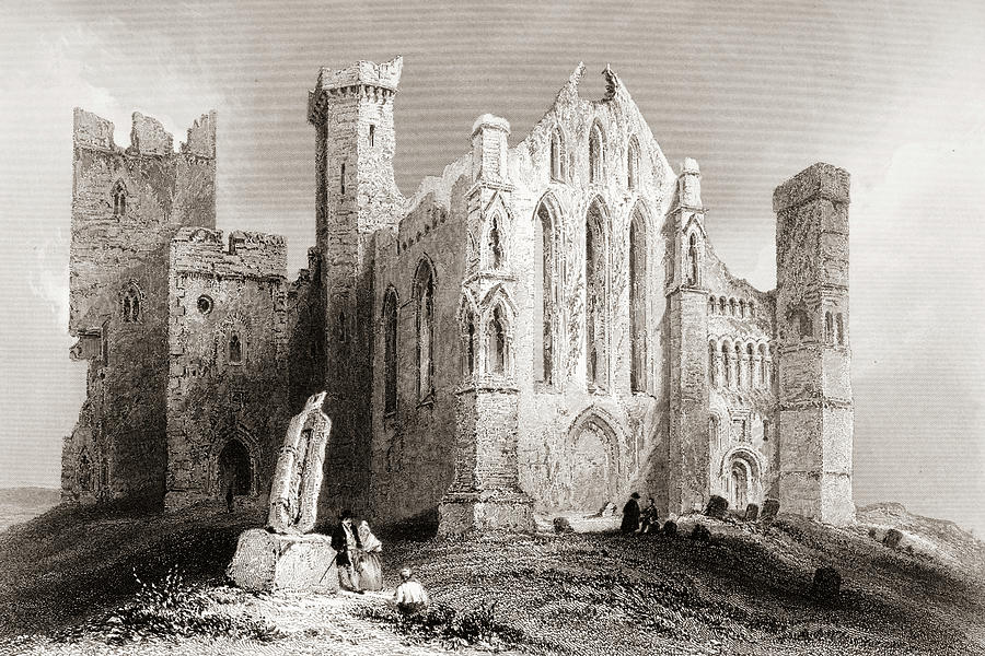19th Drawing - Ruins At Cashel, From The South, Connemara, County Galway, Ireland by Ken Welsh