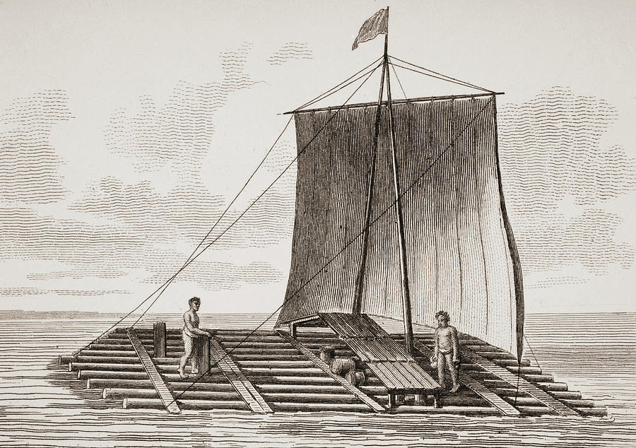 America Drawing - A Bolsa Wood Raft From South America. by Ken Welsh