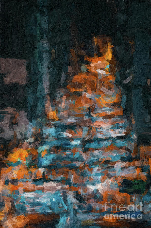168 Abstract digital oil painting on canvas full of texture and brig by Amy Cicconi
