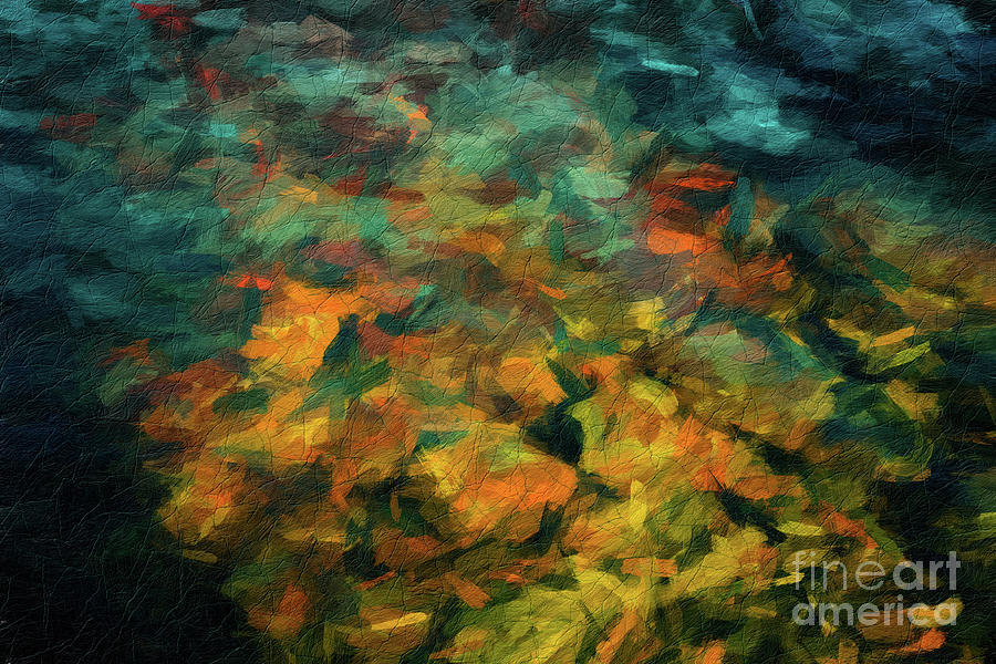 169 Abstract digital oil painting on canvas full of texture and brig by Amy Cicconi