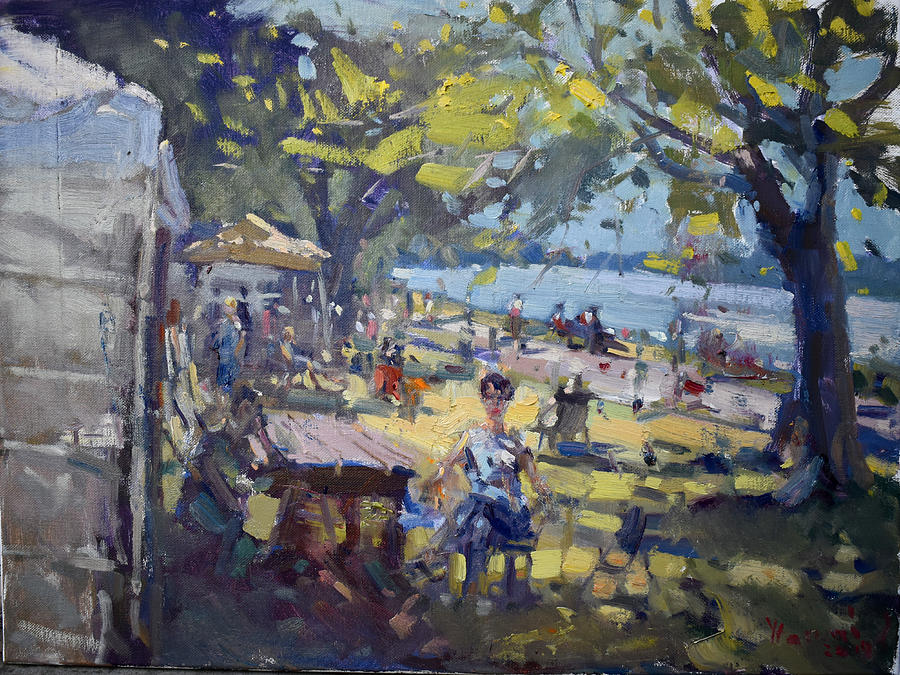 Park Painting - 16th Annual Art On The Riverwalk by Ylli Haruni