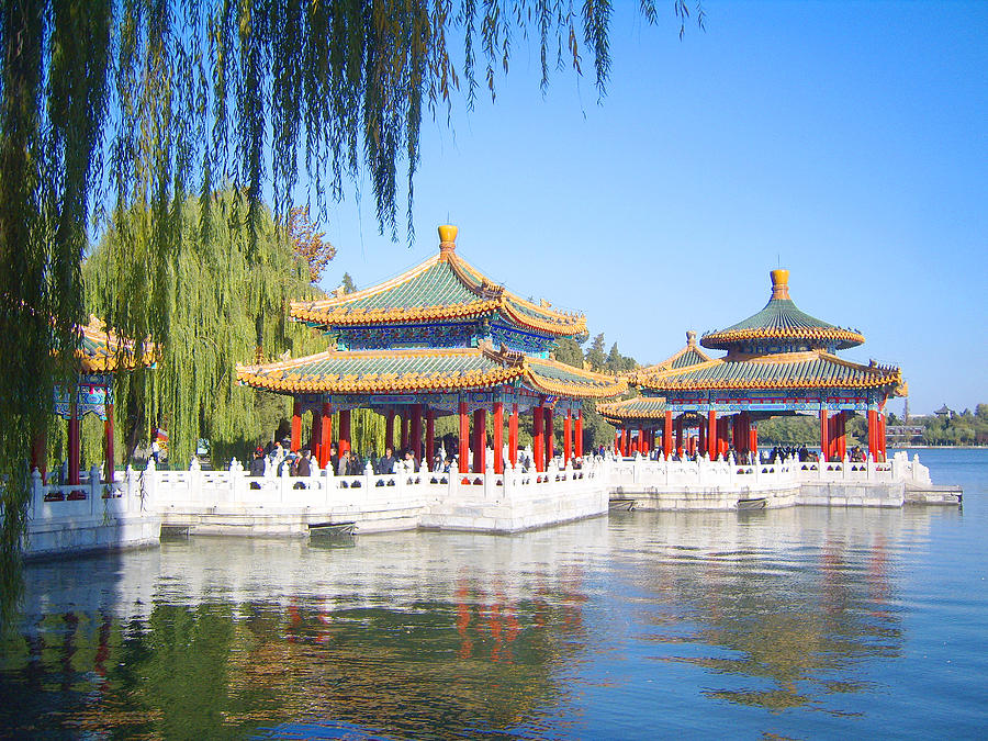 Pavilions Photograph - Beautiful Beihai Park, Beijing, China Photograph by Steve Clarke