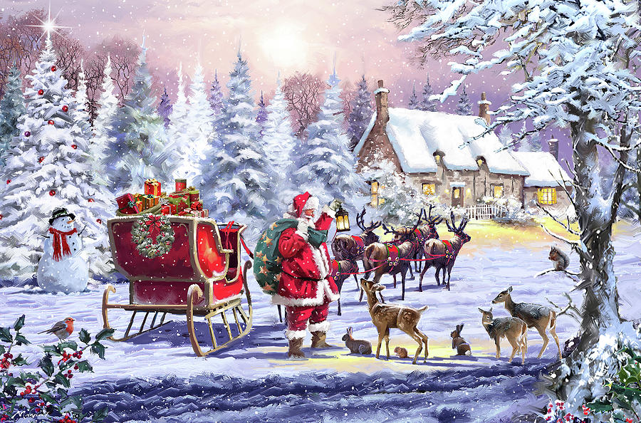 Country Mixed Media - 1761 Santa And Animals by The Macneil Studio