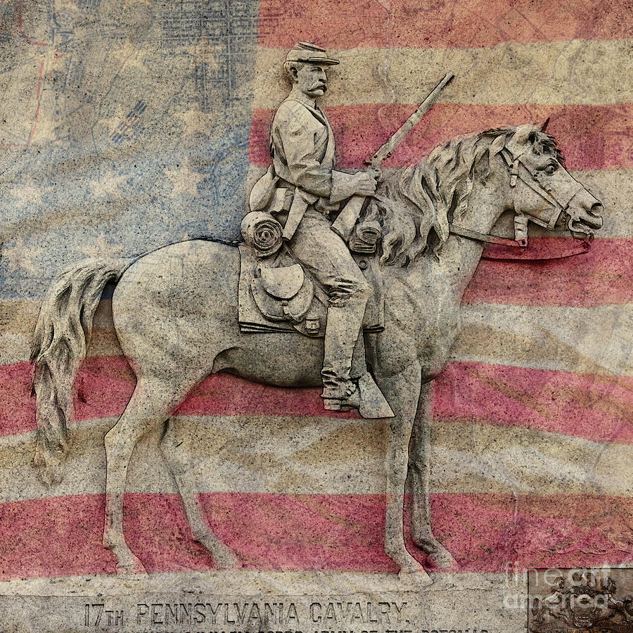 17th Pennsylvania Cavalry on Flag by Randy Steele