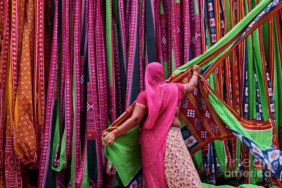 India, Rajasthan, Sari Factory Photograph by Tuul & Bruno Morandi