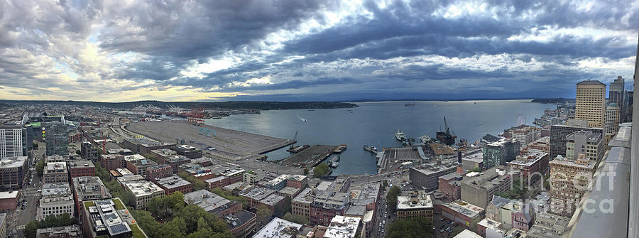 180 degree view from the Smith Tower overlooking  Alaskan Way  a by Mr Pat Hathaway Archives