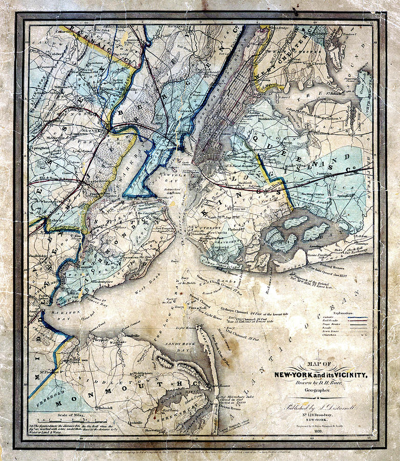 1839 King And Queens N Y Map Photograph by Paul W Faust ... Queens Map Ny on
