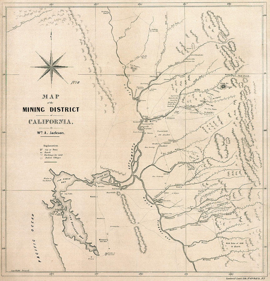 1850 CALIFORNIA GOLD MINING DISTRICT MAP by Daniel Hagerman