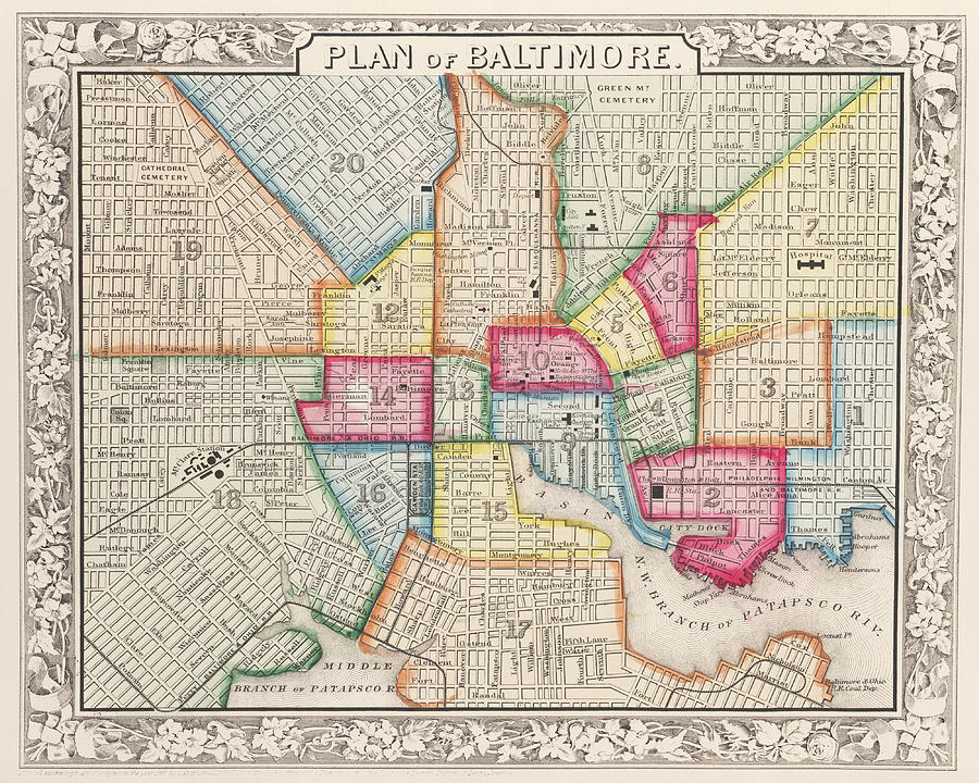 1860 City Planner Map Of Baltimore Maryland